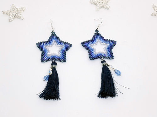 Star Earrings in Violet and Blue