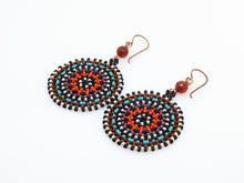 Brown Wheel Earrings