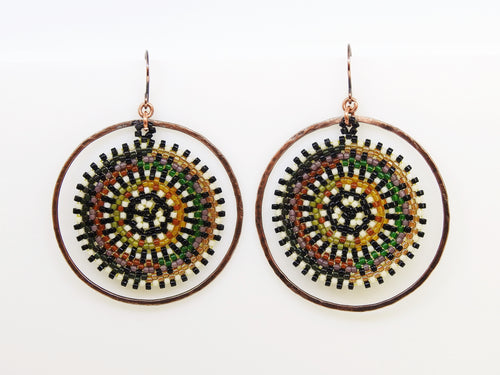 Brown & Green Orbit Earrings