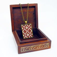 Turkish Short Pendant- Red, Cream & Bronze