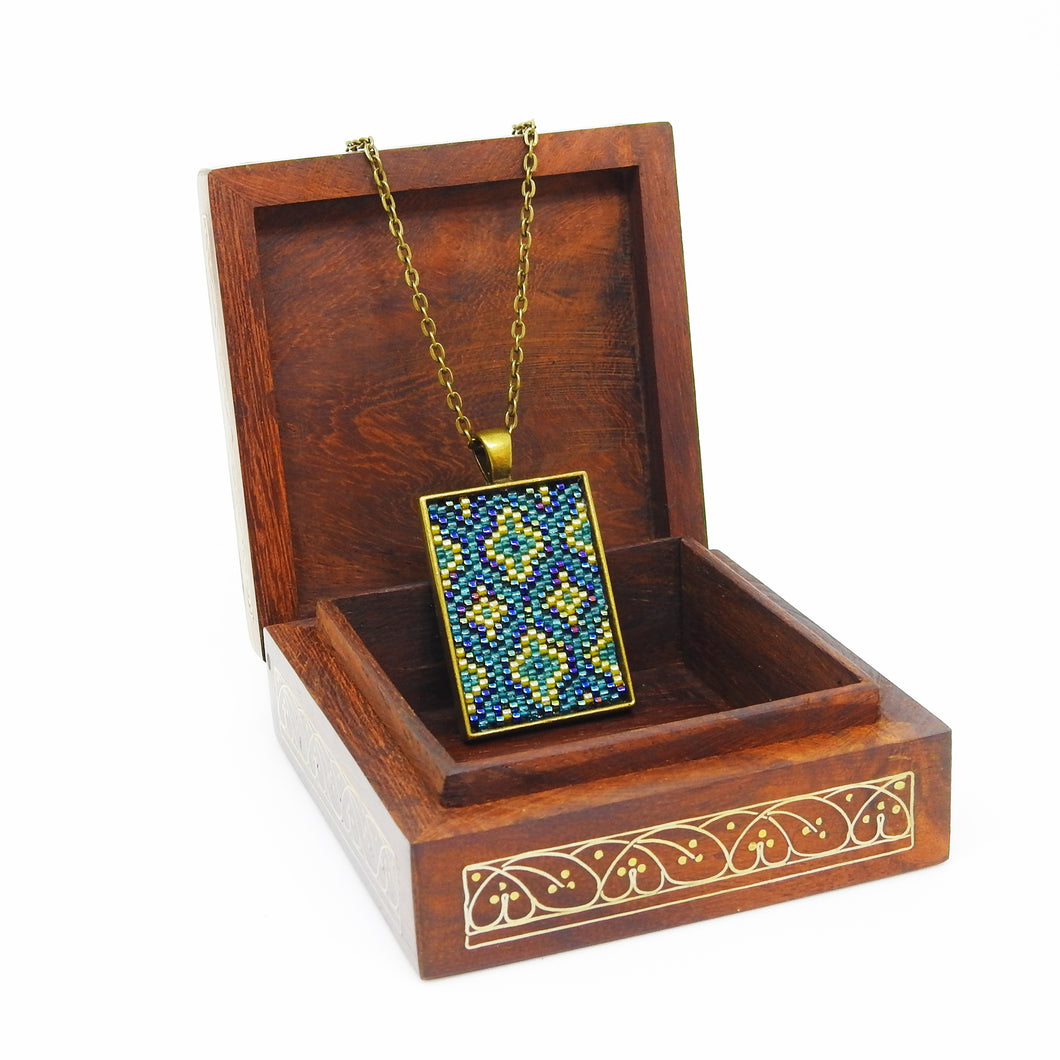 Turkish Short Pendant- Blue, Mint Green & Yellow