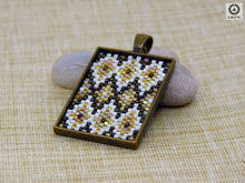 Ikat Short Pendant - Dark brown, Light Topaz, Cream