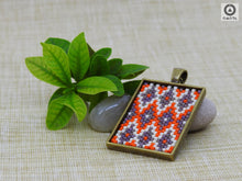 Ikat Short Pendant - Orange, Brown, Burnt Cream