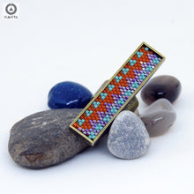 Long Zig Zag Ring in Dark Orange, Aqua Blue and Purple
