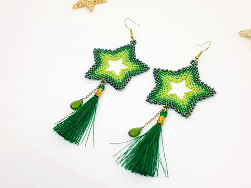 Star Earrings in Green