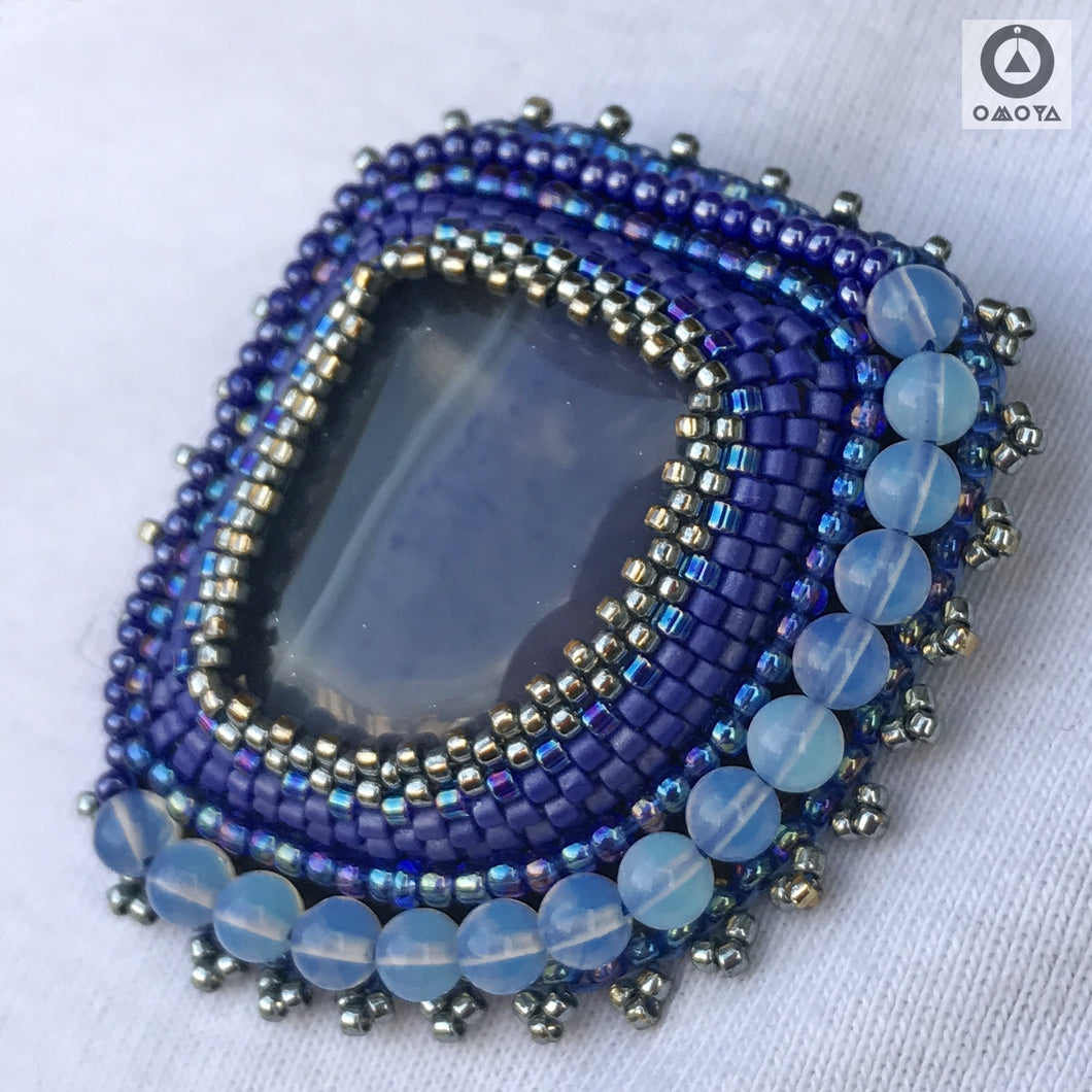 Blue Stone Brooch Pin/Necklace