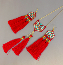 Masai Red, Blue and White Set of Earrings and Necklace