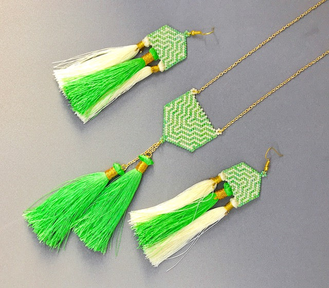 Peridot and Cream Set of Earrings and Necklace