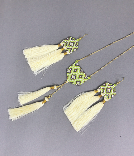 Turkish Cream and Leaf Green Set of Earrings and Necklace