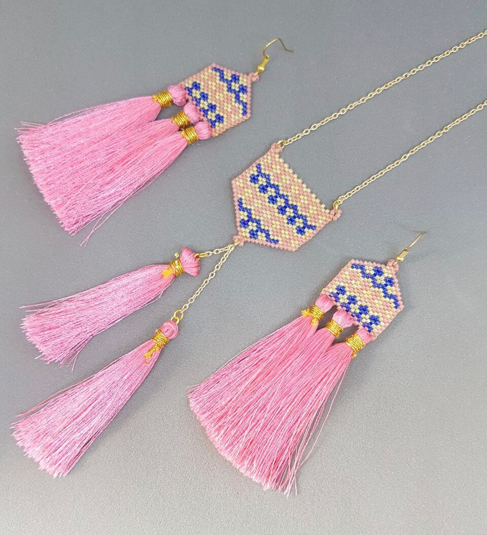 Gaudi Pink and Blue Stylized Set of Earrings and Necklace