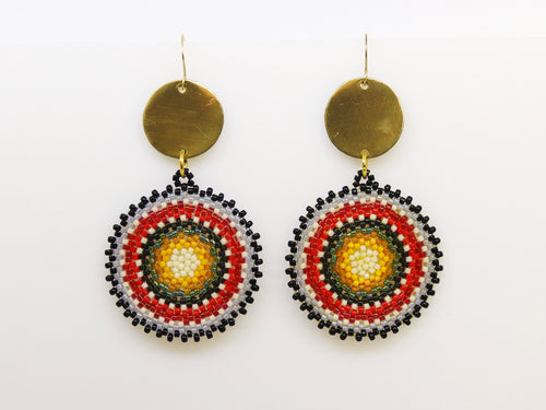Red Green Circlet Earrings