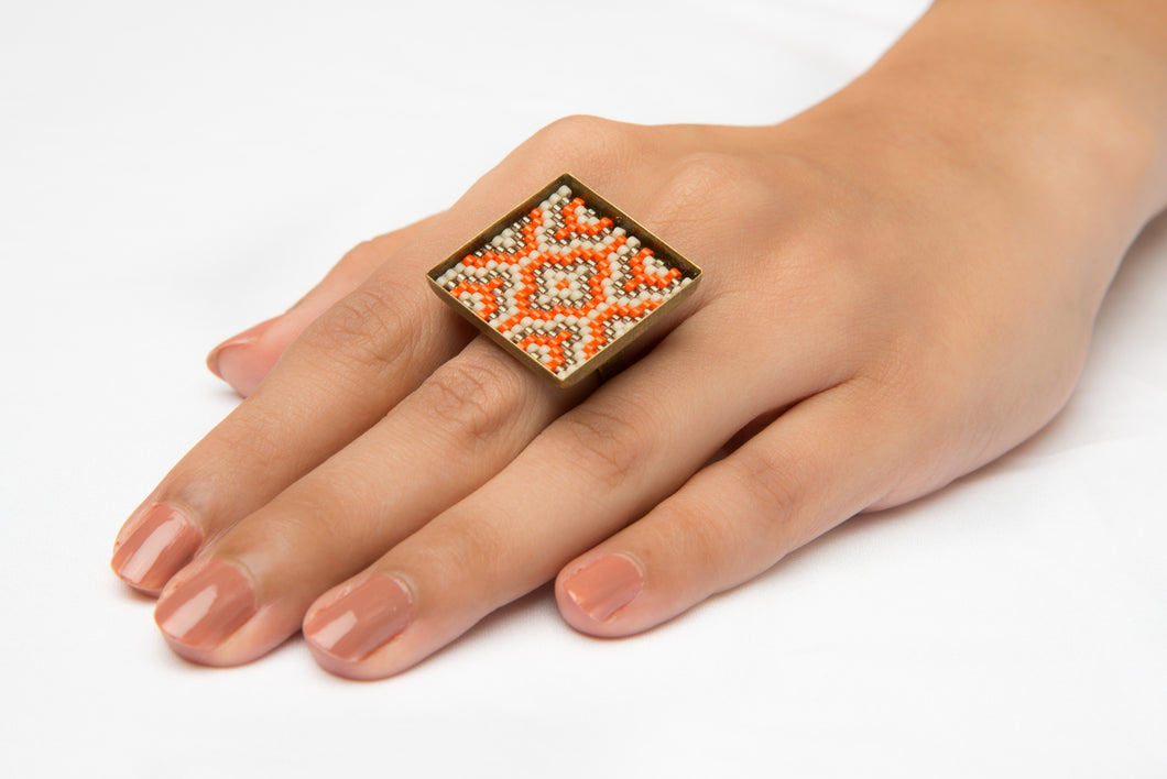 Orange, Topaz and Cream Square Ring