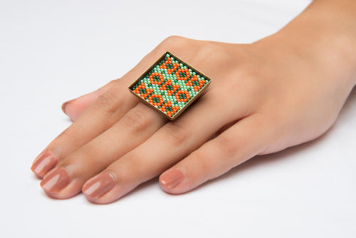 Green and Orange 'Flower Fields' Square Ring