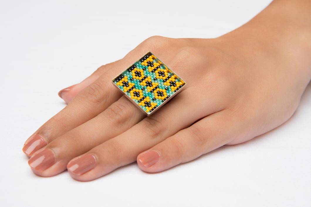 Mint, Yellow and Black  'Flower Fields' Square Ring