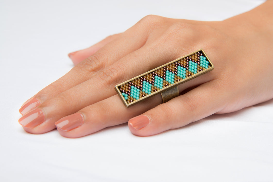 Aqua Blue and Bronze Long Ring