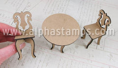 1:12 Round Table & 2 Chairs