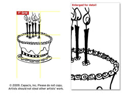 Large Cake Rubber Stamp*