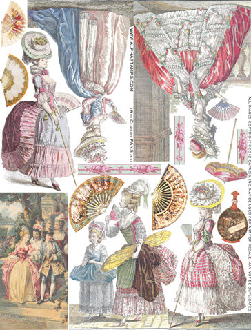 18th Century Fans Collage Sheet