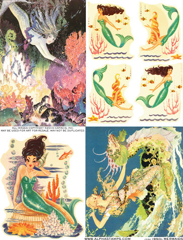 1950s Mermaids Collage Sheet