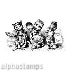 3 Theatre Cats Rubber Stamp*