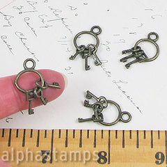 Set of 3 Tiny Keys on Ring