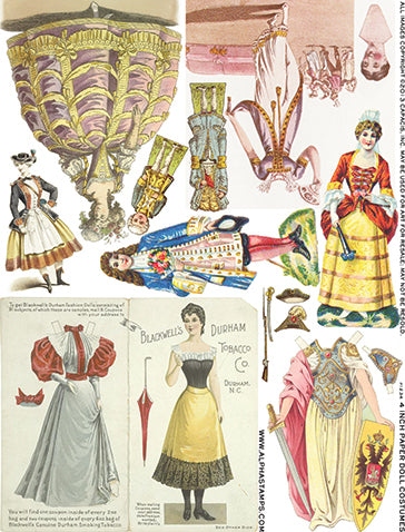 4 Inch Paper Doll Costumes Collage Sheet