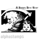A Happy New Year Rubber Stamp*