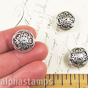 Antique Silver Puffy Round Beads*