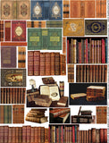 Antique Leather Book Spines Collage Sheet