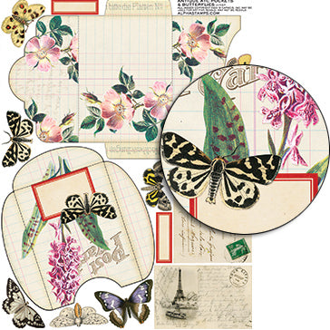 Antique ATC Pockets & Butterflies Collage Sheet