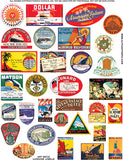 Art Deco Luggage Labels Collage Sheet