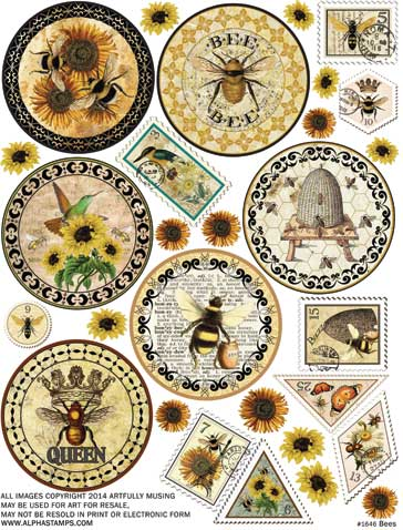 Bees Collage Sheet