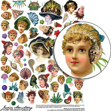 Belle Epoque Mermaid Heads & Hats Collage Sheet