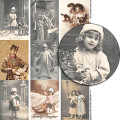 Bonne Annee Postcards Collage Sheet