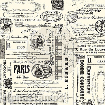 Black & Ivory Paris Ephemera Scrapbook Paper