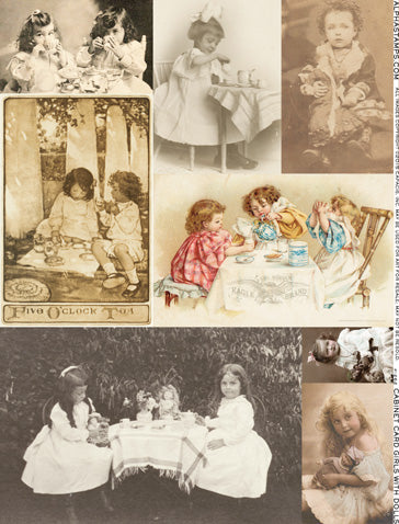 Cabinet Card Girls with Dolls Collage Sheet