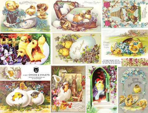 Chicks & Violets Collage Sheet