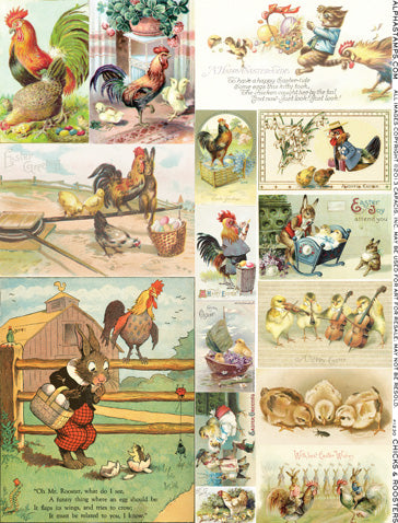 Chicks and Roosters Collage Sheet