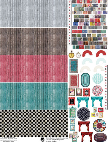 China Cabinet House Accessories Collage Sheet