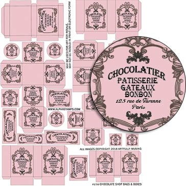 Chocolate Shop Bags & Boxes Collage Sheet