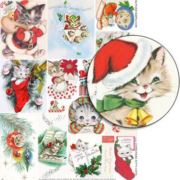 Christmas Kitty Cats Collage Sheet