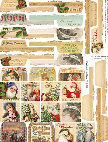 Christmas Tabs & Text Collage Sheet