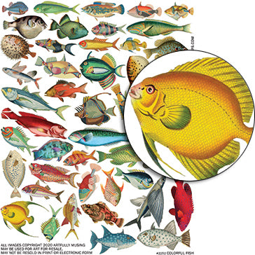 Colorful Fish Collage Sheet