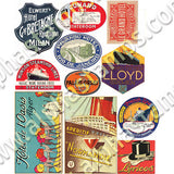Art Deco Travel Posters Collage Sheet