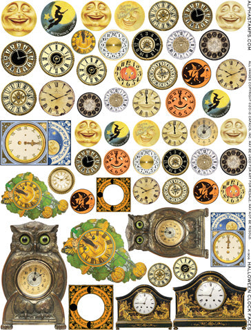 Halloween Clock Faces Collage Sheet