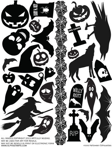 Halloween Silhouettes Collage Sheet