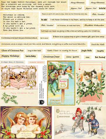 Holiday Words & Cards Collage Sheet