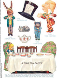 Mad Hatter's Tea-Party Paper Dolls Collage Sheet