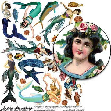 Mermaid Mash-ups Collage Sheet