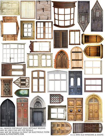 Mini Old Windows & Doors Collage Sheet | Alpha Stamps